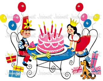 Vintage Digital Download Birthday Party Children Primary Gifts Table Cake Image Collage Large JPG PNG