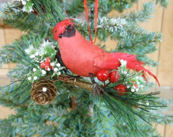 Cardinal Christmas Ornament Cardinal Ornament Country Christmas Red bird ornament Cardinal decorations Red bird Christmas Ornaments