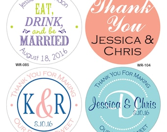 160 - 2 inch Custom Glossy Waterproof Wedding Stickers Labels - hundreds of designs to choose from - change designs to any color or wording