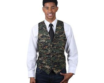 Men's dark camouflage pattern cotton full back vest