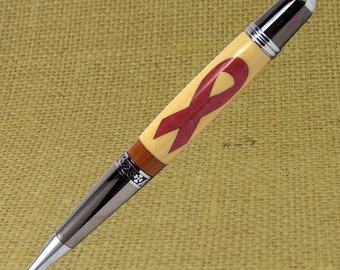 Mid size ballpoint twist pen made with Breast Cancer Ribbon inlay - Stock I113