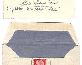 1930s Vintage Greeting Italian Ephemera - Handwritten envelope with card inside