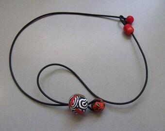 Drop Bobbles Red Necklace