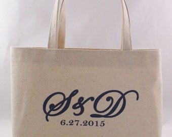 Set of 10 WELCOME BAG Mini Tote Wedding Monogram, Rustic Wedding Favor Bag, Canvas Tote, Small Personalized Shopping Tote