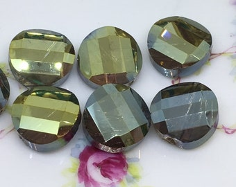 5 Wavy Flat Round Faceted Crystal Beads , Smokey Gray Faceted AB Iridescent Flat Crystal Beads , 14mm x 14mm