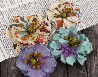 SALE CLEARANCE 30% off : Fabrique Lakeshore fabric flowers with varying styles and colors