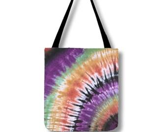 Tote Bag-Tie Dye Tote-Shoulder Bag-Orange Purple Black-Hippie Bag- 13x13, 16x16, or 18x18-Lined, pockets, adjustable strap