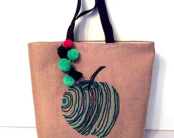 Hand embroidered Green apple, handmade jute bag, summer tote bag, shoppers bag, beach tote bag, Casual Tote Bag