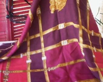 Vintage shawl wrap/Burgundy shawl fabric/Gold, brown and burgundy red shawl/Belt Shawl/Head piece/SPRING shaw/Head wrap/Patricia Paris Shawl