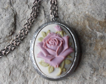 Antique Silver Plated Cameo Locket!!! Lavender / Purple Rose on Gray - Gorgeous Colors - High Quality  Weddings, Photos, Keepsakes