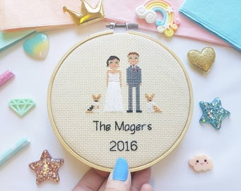 Personalized Cross Stitch Gift - Cotton Wedding Anniversary Gift - Newlywed Gift - Engagement Cross Stitch - Traditional Wedding Gift -