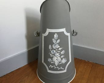 Coal scuttle restyled vintage grey and white customizable: for umbrellas, fireplace tools...