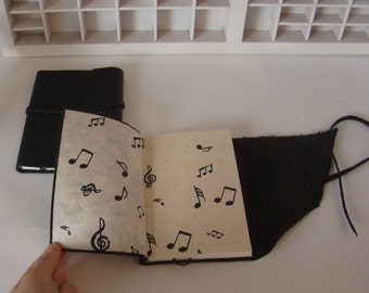 Manual music Notebook-Black leather-Music notes on cover pages-bound writing book-Leather journal