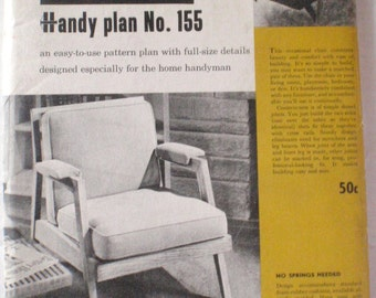 Woodworking Plans For An Occasional Chair - Better Homes and Gardens Handy Plan 155 From The 1950's