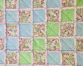 Baby Rag Quilt, The Zoo Crew! Handmade Blue and Green blanket, baby shower gift, boy blanket, girl blanket, gender neutral blanket, nursery