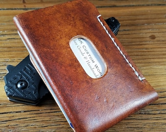The Minimalist Two Pocket Leather Card Wallet In Saddle Tan