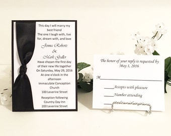 Black & White Invitation Set With Satin Ribbon Wedding/Birthdays/Holidays