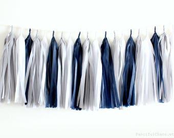 Navy Blue, Grey, White Tissue Paper Tassel Garland- Wedding, Birthday, Bridal Shower, Baby Shower, Garden Party Decorations