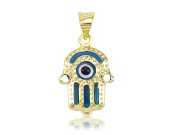 14K Solid Yellow Gold Hamsa Hand Evil Eye Pendant - Good Luck Blue Necklace Charm