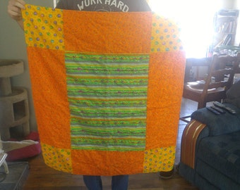 Lap Quilt, Baby Quilt, Orange, Yellow, Green, Baby Shower, Birthday,  FREE SHIPPING!