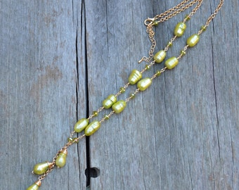 Wire Wrapped Green Pearl and Crystal Necklace in Gold