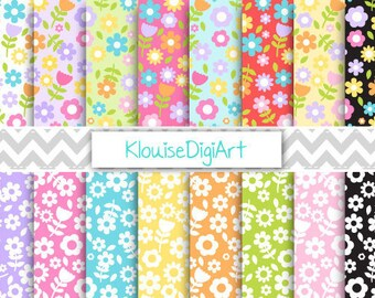 Spring Floral Flowers Digital Printable Papers for Personal and Small Commercial Use (0044)