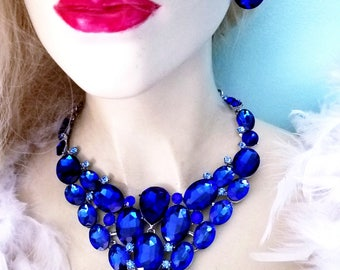 Blue Rhinestone Crystal Choker Statement Necklace Earring Set Pageant Prom Drag