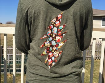 Upcycled Grateful Dead Inspired Hooded Sweatshirt With Owl Lightening Bolt Appliqué Size Large