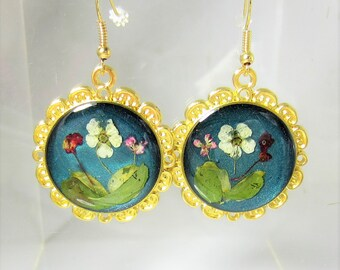 Midnight Garden, Real Flowers Earrings,  Pressed Flower Jewelry, Resin (1988)