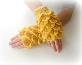 Fingerless Gloves -  Yellow, Mustard