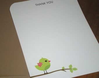 Green Bird : Thank you notes Baby shower Boy - Girl - Neutral - Set of 12