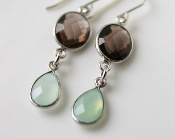 Smokey Quartz and Aqua Chalcedony Dangle Earrings / Smokey Quartz gemstones / Gemstone Jewelry /  Elegant Earrings / Brown and Mint Green