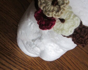 Crochet Hippie Headband with flowers, Bohemian flower headband, Crochet Scallop Hairband