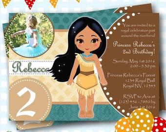 Pocahontas Invitation, Pocahontas Birthday Invitations, Pocahontas Invites, Printable Pocahontas Invitations, Princess Invitations - P611