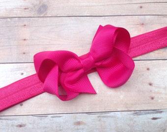 Fuchsia baby headband - pink bow headband, baby headband, newborn headband, baby bow headband, pink headband, pink bow headband, baby bows