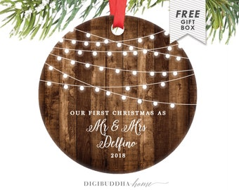 Rustic First Christmas as Mr & Mrs Ornament Our First Christmas Married Ornament Newlywed Christmas Ornament Wedding Ornament Wood Lights