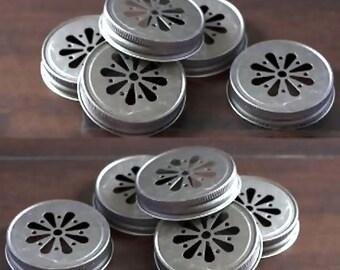12 DAISY Cut Mason Jar LIDS Vintage Pewter Finish Wedding Shower BBQ Party Favor