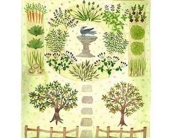Bee Garden Drucken, Kraut Garten Kunst, Obstgarten Abbildung, Giclée Kunstdruck, Aquarell Druck, grün