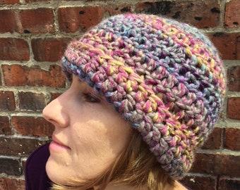 Crocheted Woman's Hat, Handmade, Multi-colored, Rainbow, Hip, Hippie, Boho, Bohemian, Thick yarn, Super Warm