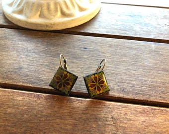 Fiesta jewelry, Mexican earrings, Mexican tile design, Talavera tile, resin earrings, Handmade, Mexican jewelry, Mexican Pottery pattern,