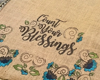 """Embroidered Burlap Table Runner """"Count Your Blessings"""" on both ends - 12"""" by 60"""" - Thanksgiving"""