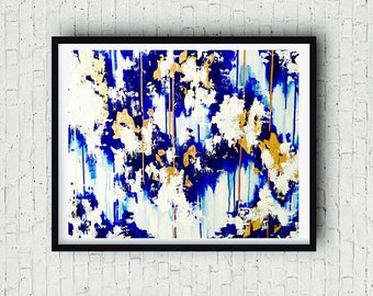 Blue Gold Abstract Painting, Original on Canvas