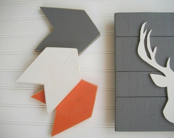 Nursery Arrow . Arrow Nursery . Gift . Arrow Set .  Grey Orange White Arrows .Chevron Arrows . Modern Nursery . Tribal Nursery . 5 x 7