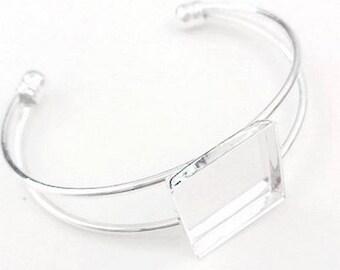 Set of 2 support of silver square bracelet