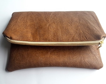 Brown Faux Leather Fold-Over Clutch - Pouch - Bag