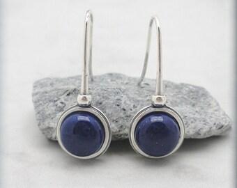 Lapis Lazuli Earrings, Blue Gemstone, Natural Stone, Sterling Silver Jewelry, Blue Lapis Lazuli Jewelry, Blue Stone Earrings
