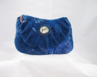 Wet felted blue merino wool and silk hankie clutch purse with beaded glass cabochon decoration