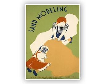 Sand Modeling 1930s WPA Poster, Vintage Style Wall Art, Print  Features Children Playing In Sand, Multiple Size Options