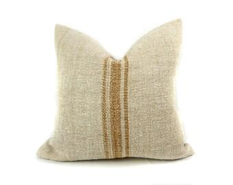 Caramel stripe grainsack pillow cover