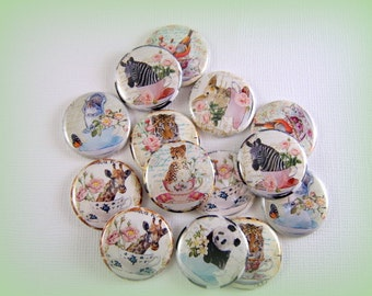 One Inch Teacup Animals Flatback Buttons, Pins, Magnets 12 Ct.